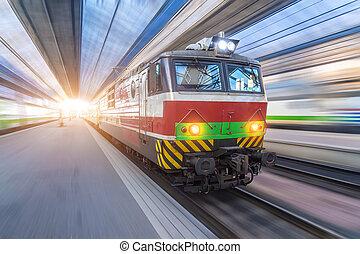 passager, train électrique, station., principal, locomotive