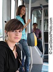 passager, tram, photo, adolescent, fond, équitation