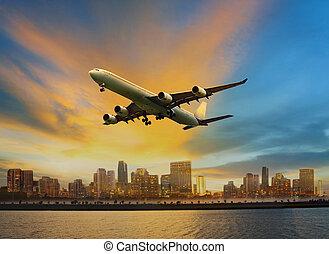 passager, usage, urbain, voler, scène, air, commodité, avion, au-dessus