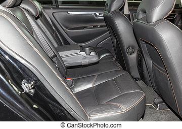passager, vente, lavage, cuir, intérieur, après, préparation, mat, voiture., arrière, propre, sièges, intérieur, noir, authentique, sedan, coûteux, avant