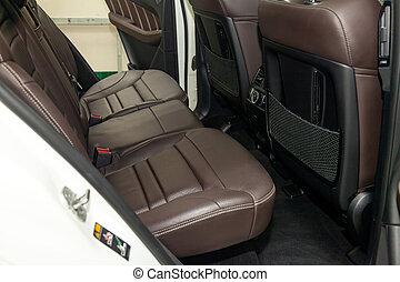 passager, vente, lavage, suv, brun, cuir, intérieur, après, préparation, mat, voiture., arrière, propre, sièges, intérieur, authentique, coûteux, avant