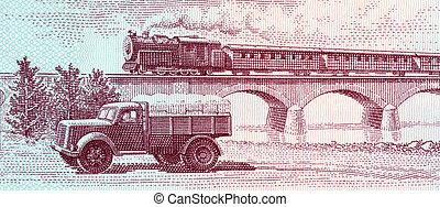 passager, viaduc, train, camion, croisement, vapeur