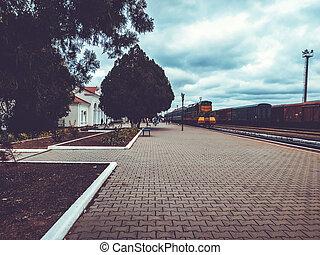 passager, vieux, passagers, plate-forme, rouillé, trains.