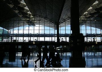 passageraren, flygplats, gripande