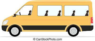 passageraren, minibus, vektor, tecknad film, gul