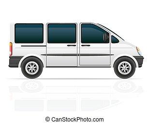 passageraren, vagn, vektor, skåpbil, illustration