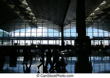 passagers, aéroport, en mouvement