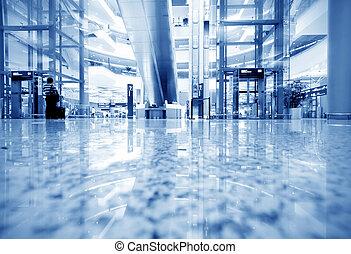 passagers, aéroport, shanghai, pudong