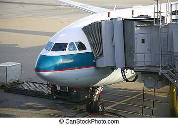 passagers, avion, déchargement