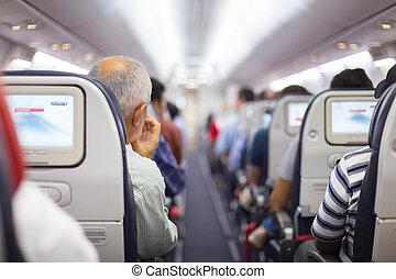 passagers, avion.