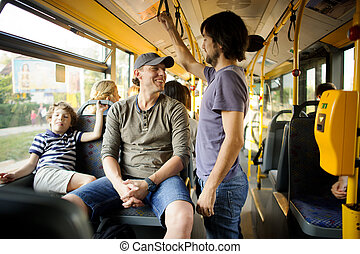 passagers, bus., ville