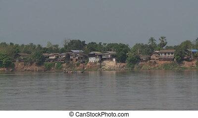 passagers, dépassement, rivière, ferry-boat