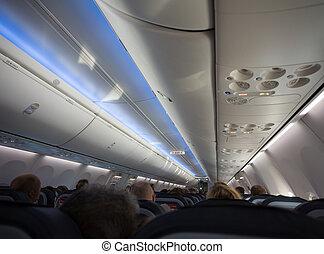 passagers, entiers, jet, avion, ou, cabine