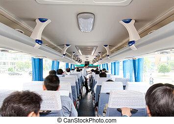 passagers, intérieur, autobus