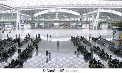 passagers, salle, asseoir, méridional, attente, station