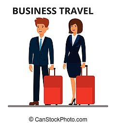 passagers, style, luggage., business, plat, femme affaires, travel., illustration, isolé, arrière-plan., vecteur, international, homme affaires, suitcase., blanc