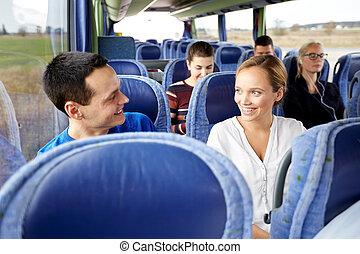passagers, voyage, heureux, groupe, autobus