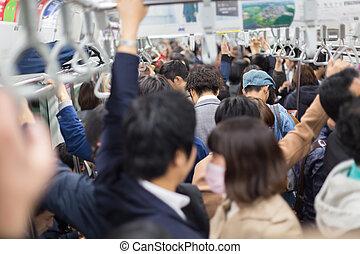passagers, voyager, metro., tokyo