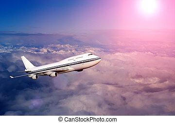passagier, airliner., wolkenhimmel, transport., niemand,...
