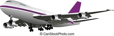 passagier, airplanes., gekleurde, vector