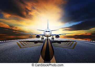 passagier, aus, düse, startbahnen, flughafen, eben, nehmen, vorbereiten