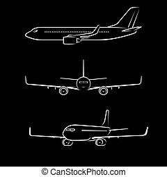passagier, bovenkant, moderne, vlucht, straalvliegtuig, silhouettes, vliegtuig, contourlijnen, perspectief, outlines., vliegtuig, voorkant, aanzicht
