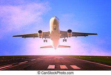 passagier, comercial, straalvliegtuig, startbaan, vliegen, luchthaven, schaaf, opstijgen