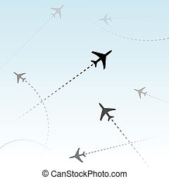 passagier, commercieel, vliegtuigen, lucht, vluchten, ...