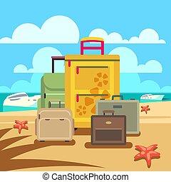 passagier, concept, bagage, reizen, achtergrond, strand