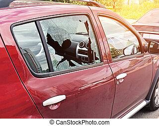 passagier, concept, deur, valuables., auto misdaad, parked., glas, diefstal, diefstal, kapot