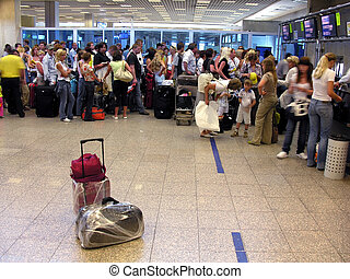 passagier, flughafen, gepäck