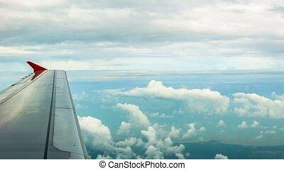 passagier, flugzeug, durch, fenster, Ansicht