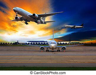 passagier, gebruiken, lucht, luchthaven, schaaf,...