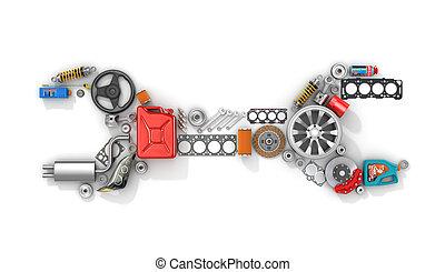 passagier, gebruiken, vorm, auto, cars., sporten, wrench., ...