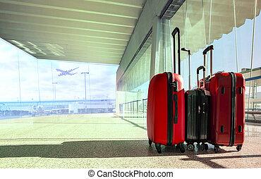 passagier, gepäck, fliegendes, flughafen,...