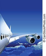 passagier, hemel, straalvliegtuig
