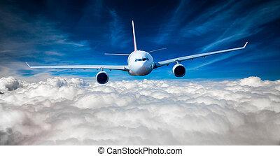 passagier, himmelsgewölbe, verkehrsflugzeug