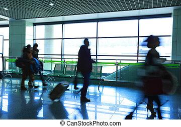 passagier, in, de, luchthaven
