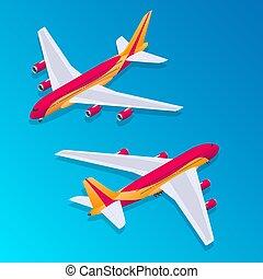 passagier, isometric, vliegtuig