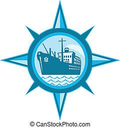 passagier, lading, lijntoestel, oceaan, kompas, scheeps