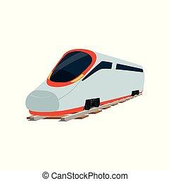 passagier, locomotief, fantastisch, trein, moderne,...