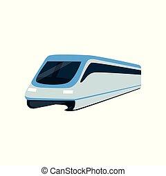 passagier, locomotief, snelheid, trein, illustratie, hoog,...