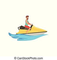 passagier, mannelijke , straalvliegtuig, illustratie, water, vector, achtergrond, activiteit, witte , sportende, ski, extreem