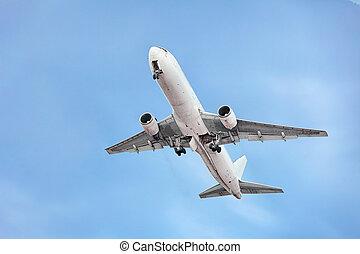passagier, motorflugzeug, auf, der, himmelsgewölbe, hintergrund