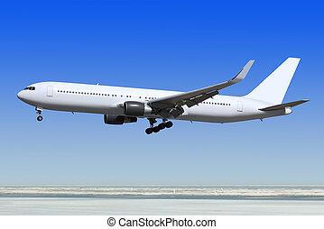 passagier, motorflugzeug, gleichfalls, landung