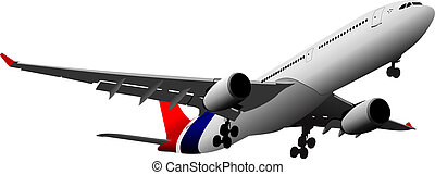 passagier, motorflugzeug, vektor, abbildung, luft.