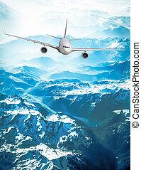 passagier, motorflugzeug, verkehrsflugzeug, sky.