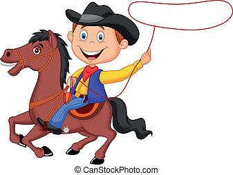 passagier, paarde, t, spotprent, cowboy