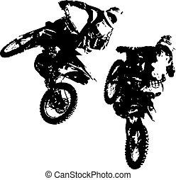 passagier, participates, motocross, championship., vector,...