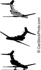 passagier, set, silhouette, straalvliegtuig